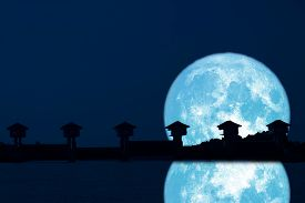Reflection Super Blue Moon And Silhouette Dam In The Night Sky