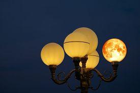 Super Blood Moon Back On Light Pole In Night Sky