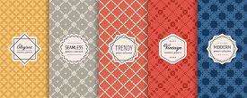 Vector Seamless Pattern Collection. Retro Geometric Backgrounds With Elegant Modern Labels. Set Of A