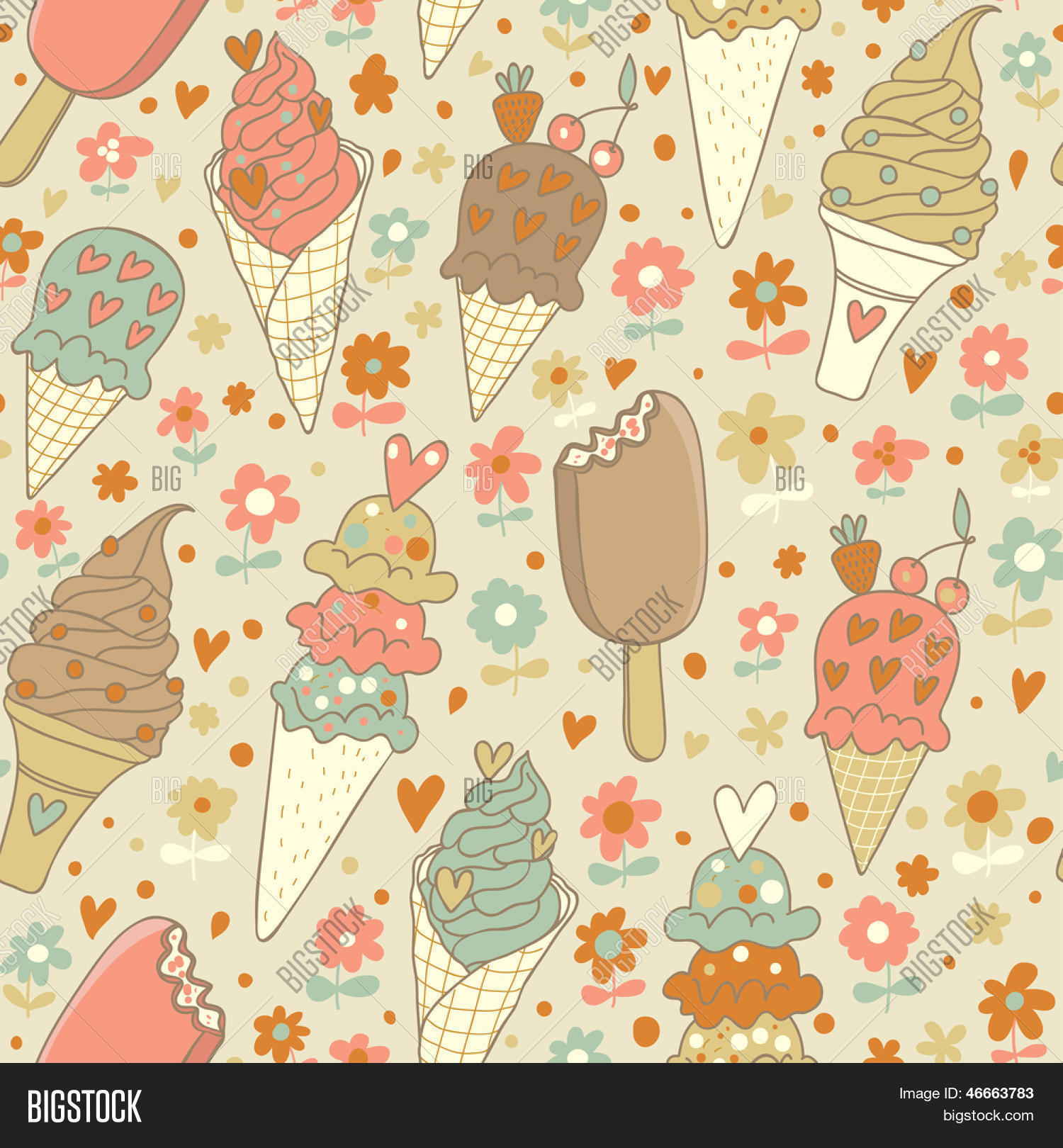 Seamless Ice Cream Background Vintage Style: Cute Vintage Summer Vector & Photo (Free Trial)