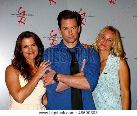 LOS ANGELES - JUN 4:  Melissa Claire Egan, Sharon Case, Michael Muhney arrives at SAG-AFTRA Panel  With The Cast Of