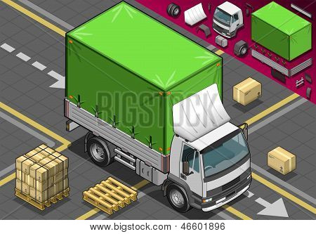 Isometric Pick Up Truck With Tarpaulin In Front View