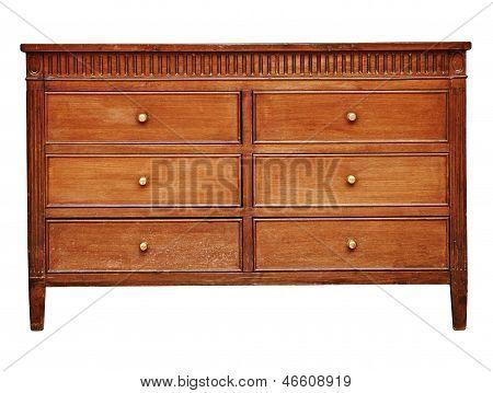 Vintage Wooden Chest Drawer On White