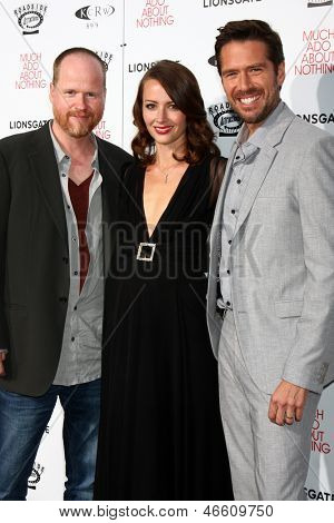 LOS ANGELES - JUN 5:  Joss Whedon, Amy Acker, Alexis Denisof arrives at the