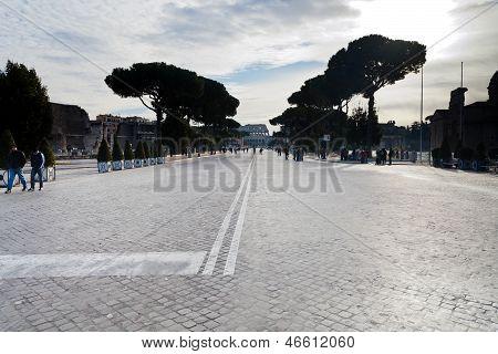 Via Dei Fori Imperiali And View Of Coliseum In Rome
