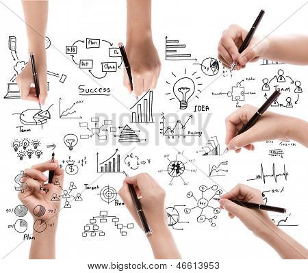 Business hand drawing business concept isolated on white background