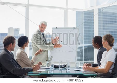 Businessman in front of a growing chart during a meeting with concentrated colleagues