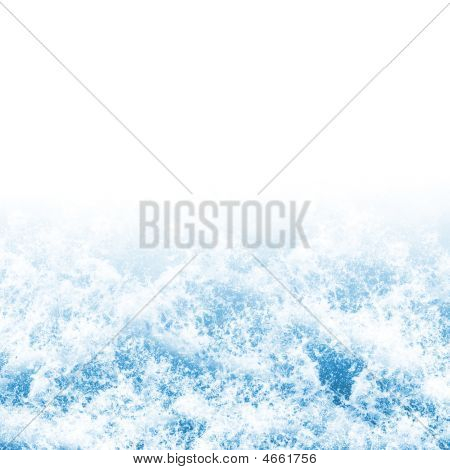Background texture of foaming ocean waves on white poster