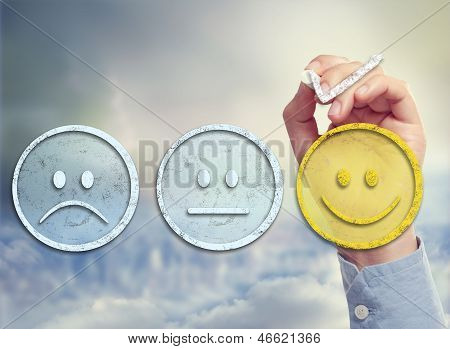 Customer satisfaction survey on a sky background poster