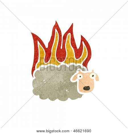 retro cartoon burning sheep poster