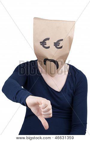 Sad Euro Paper Bag