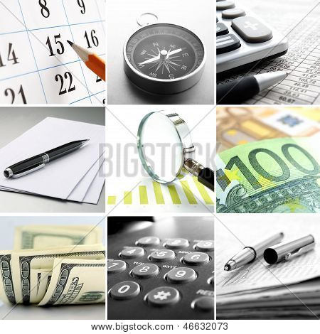 Composite Of Nine Images Of Office Themes