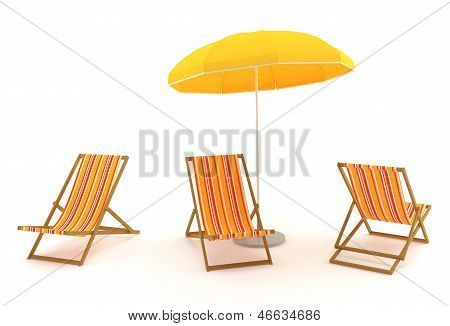 Colored Deck Chairs And Umbrella
