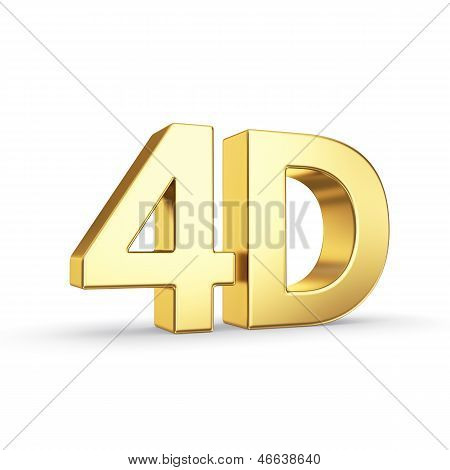 Golden 4D symbol isolated