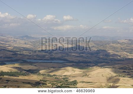 View of Enna countryside in Sicily, taly poster