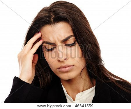 Overworked - Businesswoman With Strong Migraine