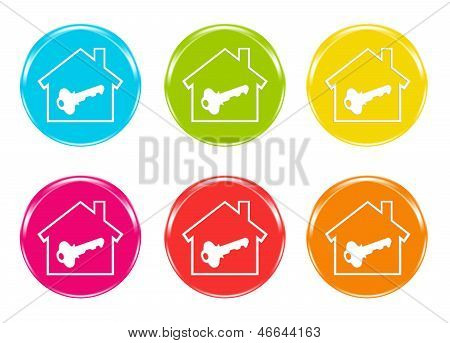Colorful icons with a house symbol