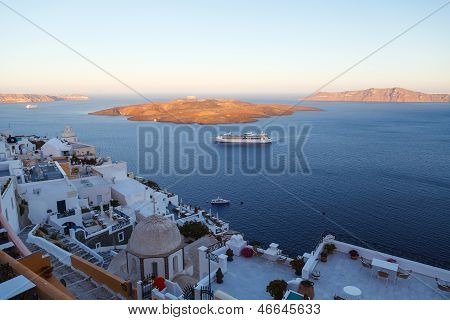 Panoramic View Of The Town Of Fira