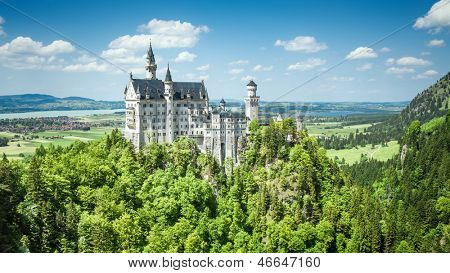 The fairytale Castle of King Ludwig the 2nd Neuschwanstein in Bavaria Germany in June 2013