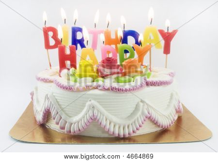 a birthday cake and candle on white poster