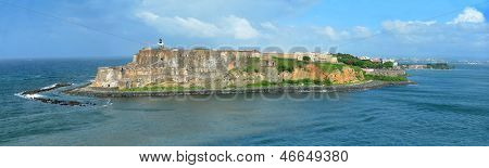 Aerial view of Castillo San Felipe del Morro with lighthouse in San Juan, Puerto Rico - stitched from 4 images