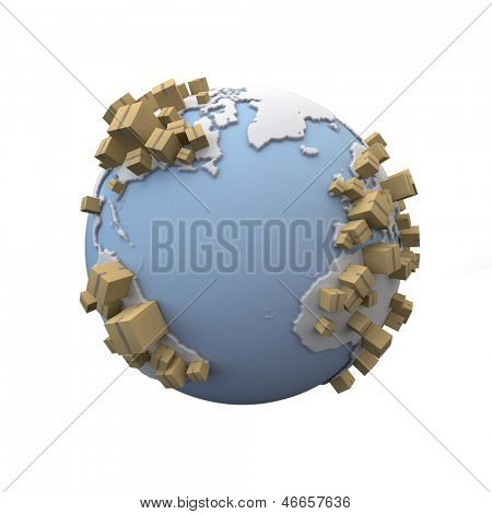 3D rendering of the Earth with lots of cardboard boxes everywhere