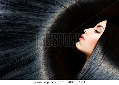 Hair. Healthy Long Black Hair. Beauty Brunette Woman. Gorgeous Hair
