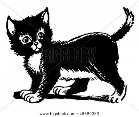 Liebenswert Kitten - Retro ClipArt Illustration