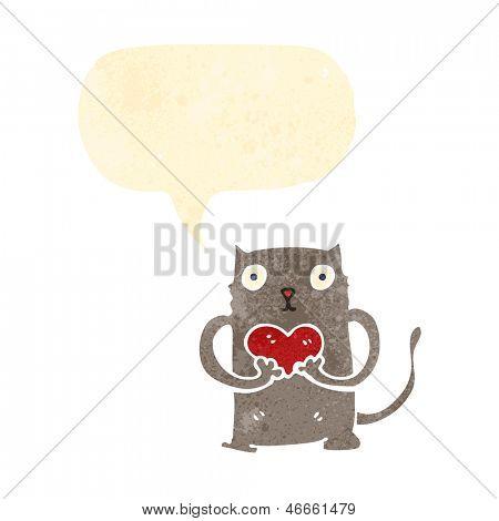 retro cartoon cat with love heart