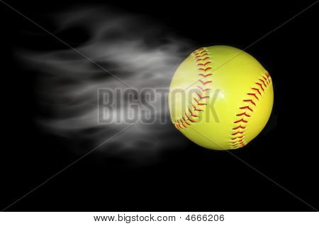 softballl baseball with added effects from software filter. poster