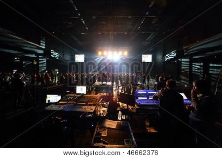 MOSCOW - OCT 12: The control panel sound and light on DAUGHTRY group performs on stage of Stadium Live on October 12, 2012 in Moscow, Russia.