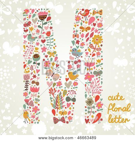 The letter M. Bright floral element of colorful alphabet made ??from birds, flowers, petals, hearts and twigs. Summer floral ABC element in vector