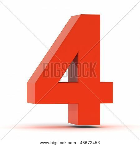 The Number Four - Red Plastic