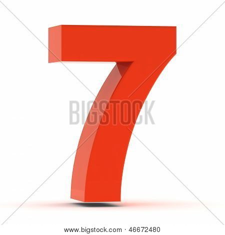 The Number Seven - Red Plastic