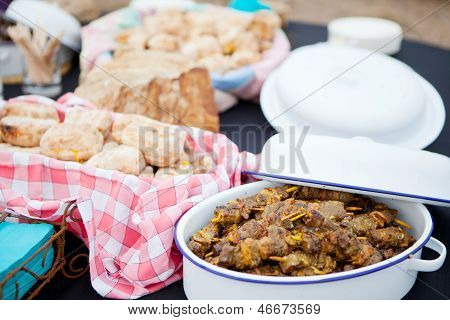 Fresh Roasted Bread And Mutton Kebabs In Dishes