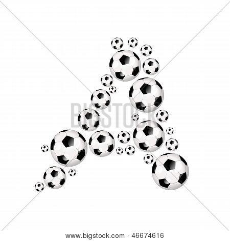 Foootball, soccer alphabet letter A