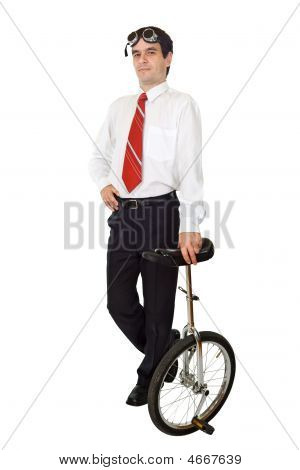 Businessman With Monocycle