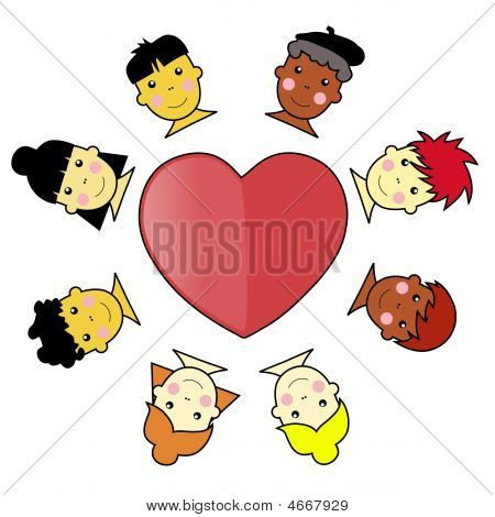 Multicultural Kid Faces United Around Heart Illustration Vector