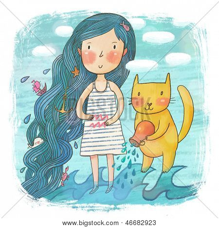 Zodiac sign - Aquarius. Part of a large colorful cartoon calendar. Cute girl with her cat in the sea. Concept cartoon illustration in blue colors