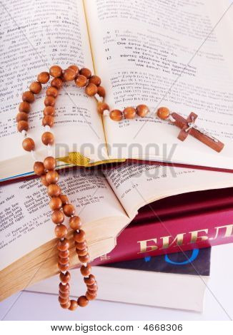 Open Bible And Rosary