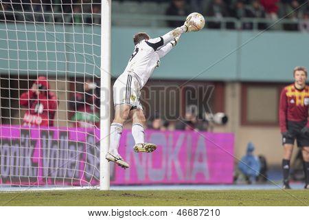 VIENNA, AUSTRIA - DECEMBER 6 Oleandr Groyainov (#29 Metalist) catches the ball on December 6, 2012 in Vienna, Austria.