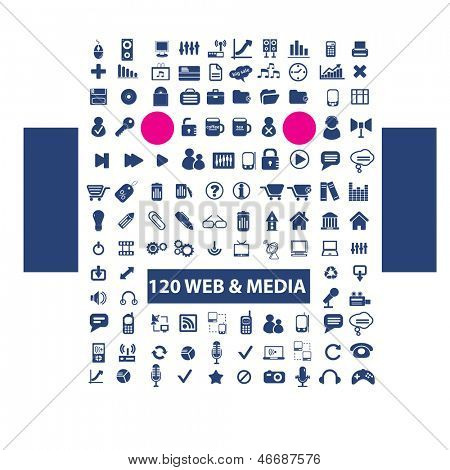 web, media, music, video, office, design, blue icons set, vector