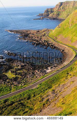 Vertical Shot Of Giant's Causeway Cliffs