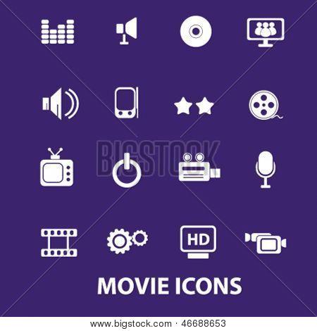 movie, media, music, cinema, gadjet, electronics icons, signs set, vector