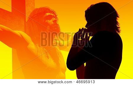 A girl prays on a background of Jesus Christ. poster
