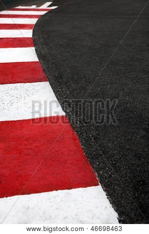Motor Race Asphalt Curb On Monaco Grand Prix Street Circuit