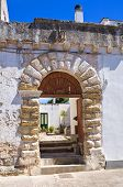 Perspective of an historical palace of Palmariggi. Puglia. Italy. poster