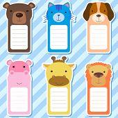 six cute animals set of scrapbook elements. poster