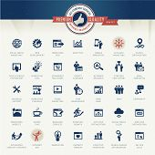 Set of vector icons for internet marketing and services poster