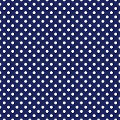 Seamless vector dark pattern with white polka dots on a sailor navy blue background. For cards, invitations, wedding or baby shower albums, backgrounds, arts and scrapbooks. poster